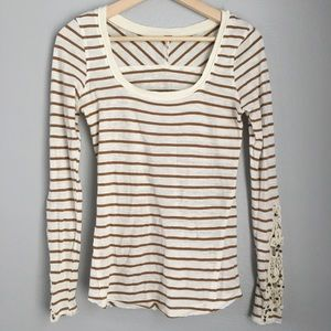 Free People | Brown Striped Crochet Longsleeve